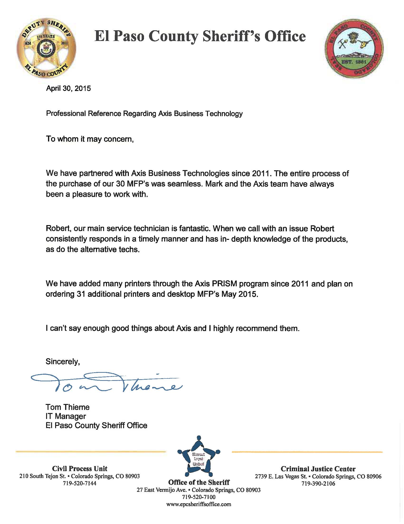 reference from Sheriff on letterhead